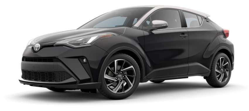2021 Toyota C-HR Black sand pearl with knockout metallic roof