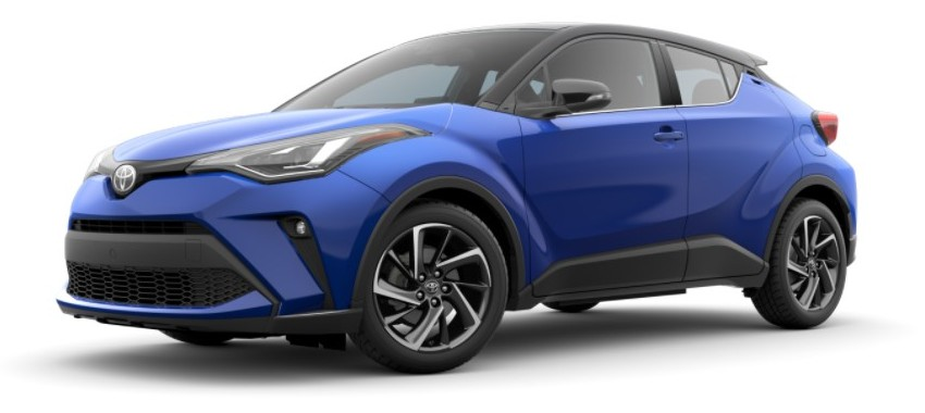 2021 Toyota C-HR blue with black roof
