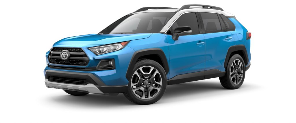 Blue Flame 2021 Toyota RAV4 with Ice Edge Roof
