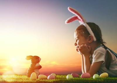 Girl with a small Easter Bunny
