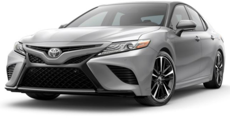 2018 Toyota Camry in Celestial Silver Metallic/Midnight Black Metallic Roof and Rear Spoiler