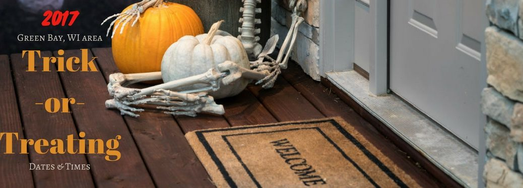 2017 Green Bay WI Trick-or-Treating Times, text an an image of a Wlcome mat with a orange and white pumpkin next to it