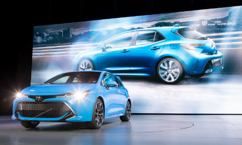 2019 Toyota Corolla hatchback at the New York Auto Show in 2018