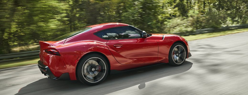 2020 Supra driving on a sunny day