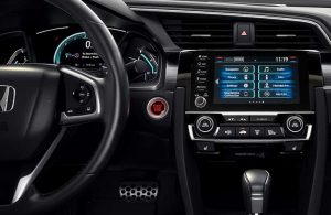 Steering wheel and touchscreen in the 2019 Honda Civic