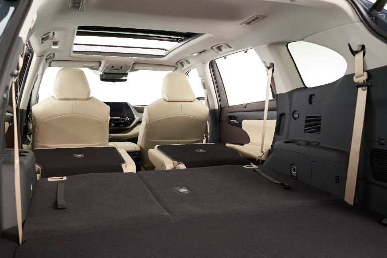 Folded seats in the 2020 Toyota Highlander