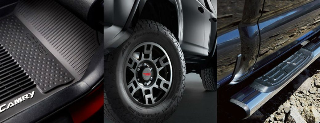 A collage of images of Toyota accessories