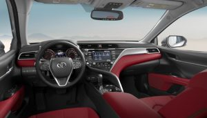 2019 Toyota Camry with a Cockpit Red Leather interior