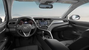 2019 Toyota Camry with a black leather interior