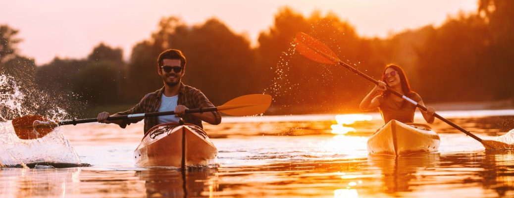 A man and a woman kayaking