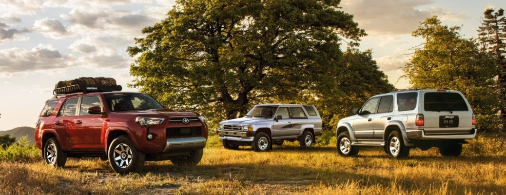 Three, 2020 Toyota 4Runner models outside by a tree