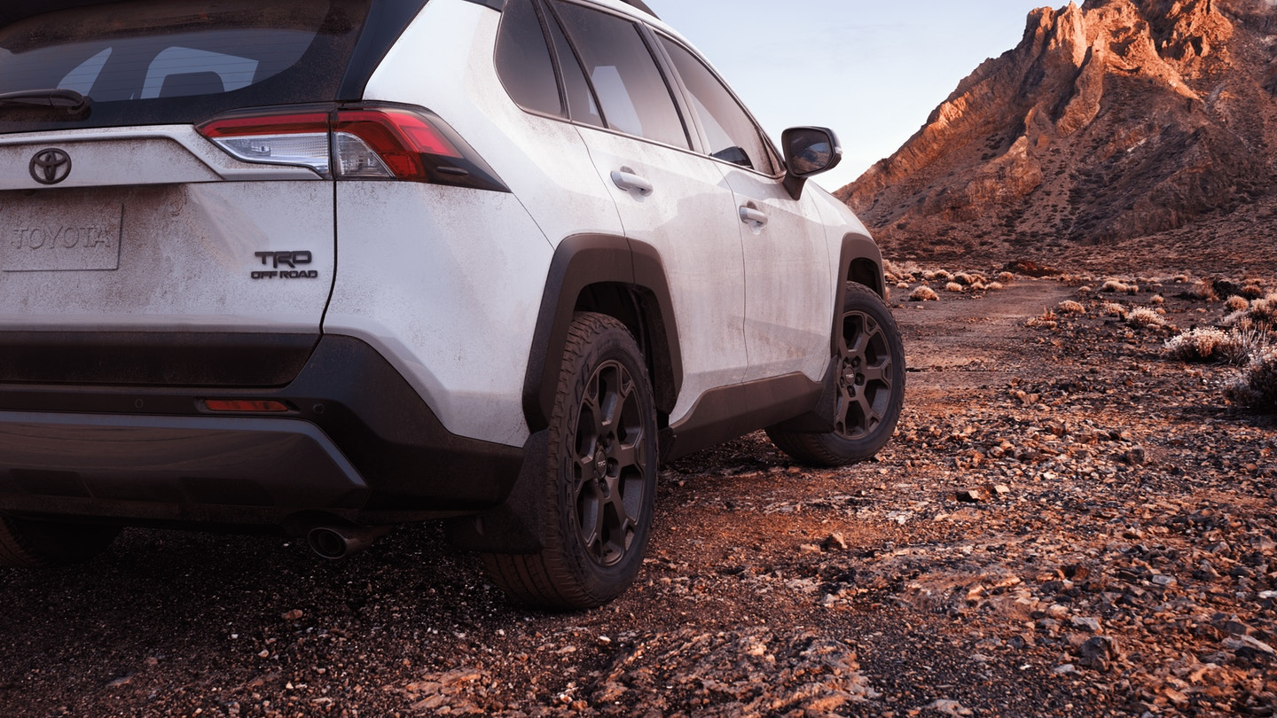 2020 RAV4 TRD Off-Road exterior viewed from rear