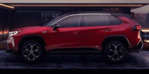 2021 Toyota RAV4 Prime in front of a home