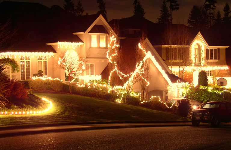 A house covered in holiday lights