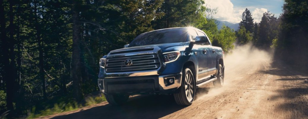2020 Toyota Tundra driving down a dirt road