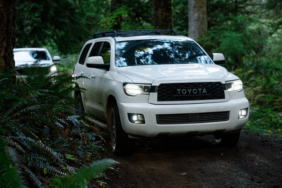 2020 Toyota Sequoia in woods on trail