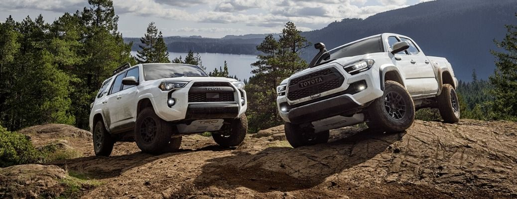 2020 Toyota 4Runner on left and 2020 Toyota Tacoma on right
