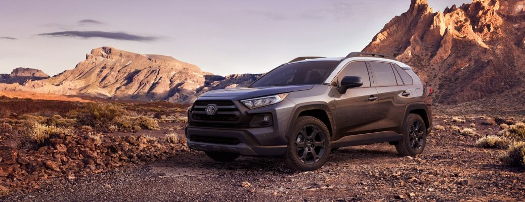 2020 Toyota RAV4 parked by mountain range