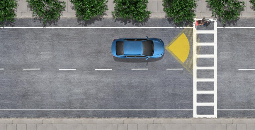 Graphic of Pre-Collision System with Pedestrian Detection