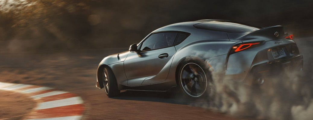 2020 Toyota GR Supra taking turn on track