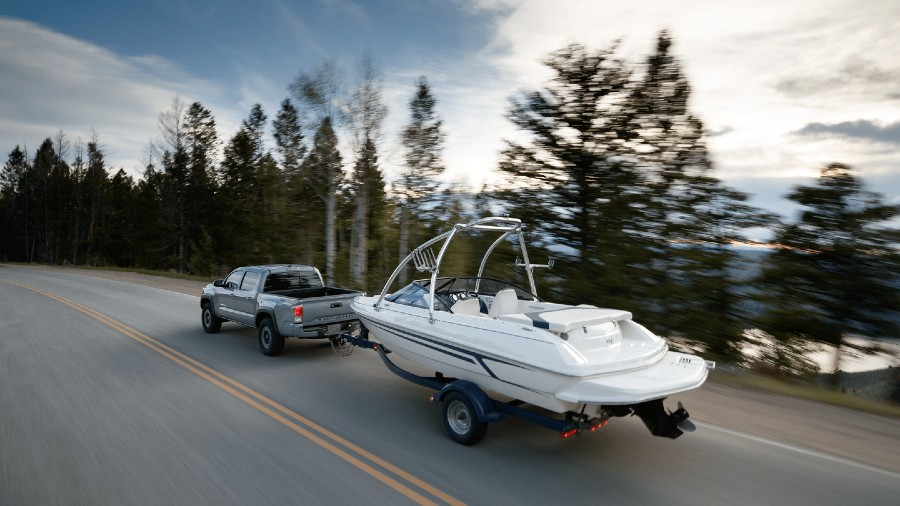 2020 Toyota Tacoma towing boat