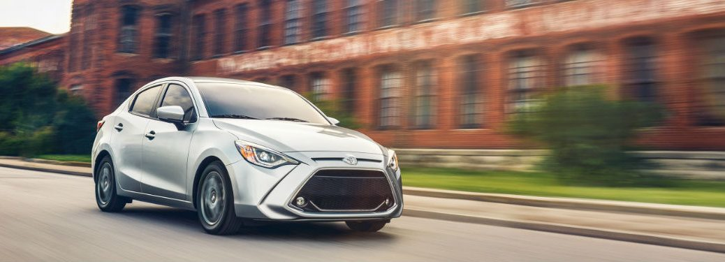 2020 Toyota Yaris Sedan driving on a road