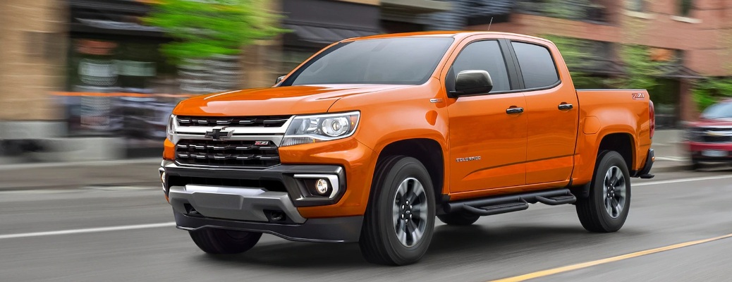 2021 Chevrolet Colorado flying down the road