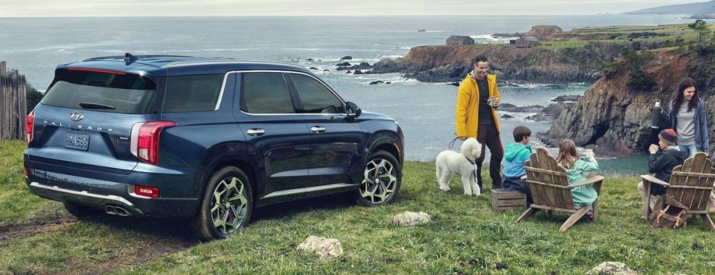 2021 Hyundai Palisade parked by water and a family having a campfire