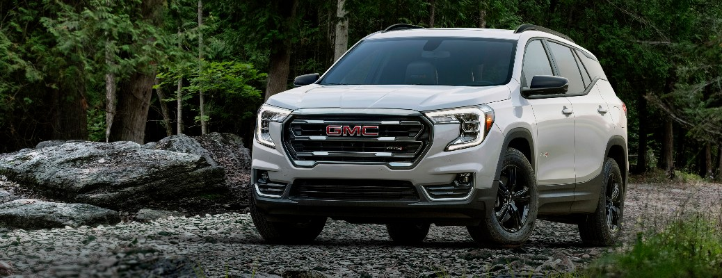 2022 GMC Terrain AT4 with rocks in the background