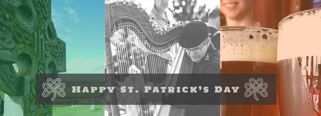 Happy St. Patrick's Day title and images of a tombstone, a harp, and glasses of beer