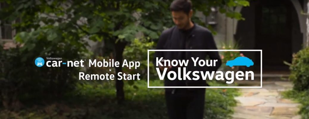 Volkswagen Car-Net Mobile App Remote Start title and a man using a smartphone