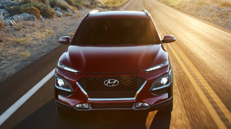 2020 Hyundai Kona exterior front fascia on road lit by sunlight