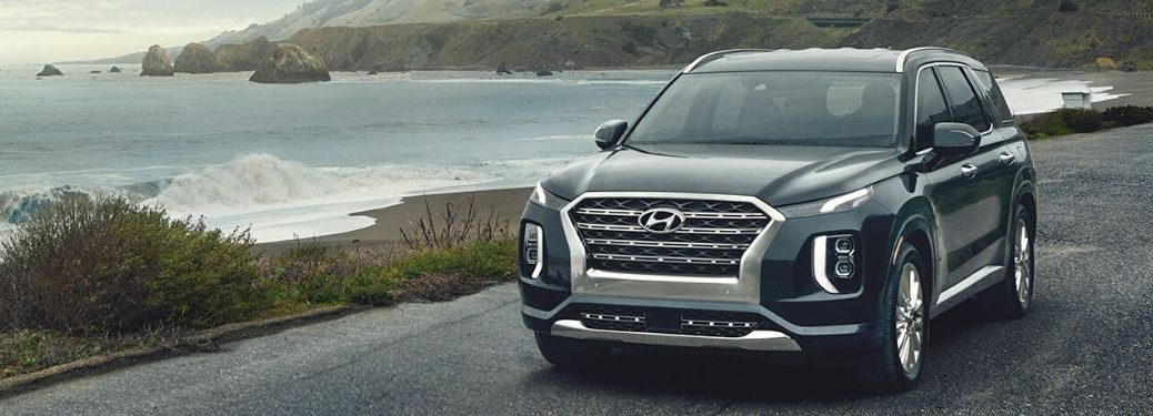2020 Hyundai Palisade exterior front fascia driver side in front of lake