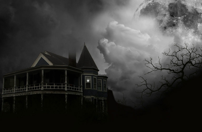 Black and white photo of a haunted house with spooky clouds and trees