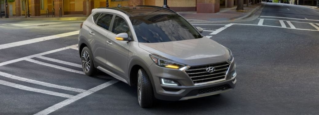 2021 Hyundai Tucson exterior front fascia passenger side in intersection