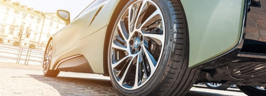 Close up of tire on a blue car