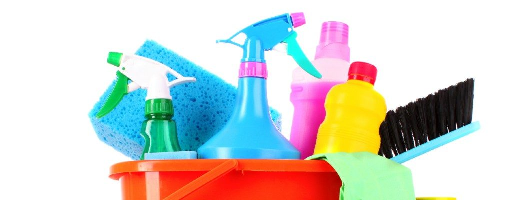 colorful cleaning supplies in a bucket