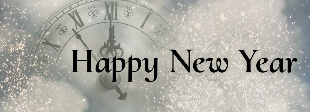 happy new year written against a snowy white background with a clock close to striking midnight