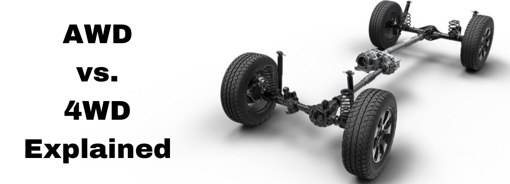"""Cut out of drive train with white background and text saying """"AWD vs. 4WD Explained"""""""
