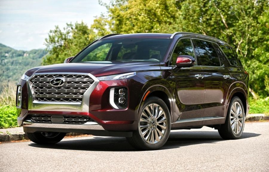 Red 2020 Hyundai Sontana from passenger side