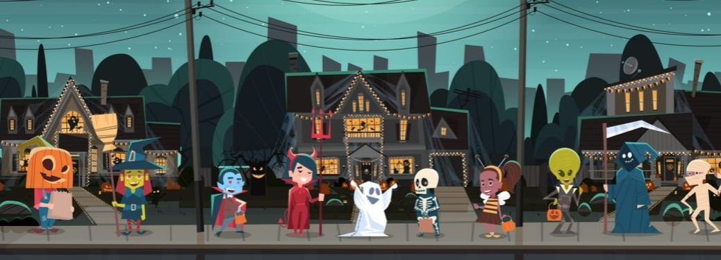 Cartoon Halloween with trick-or-treaters and decorated houses