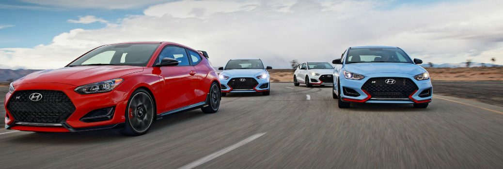 Multiple 2020 Hyundai Veloster N Models on Racetrack