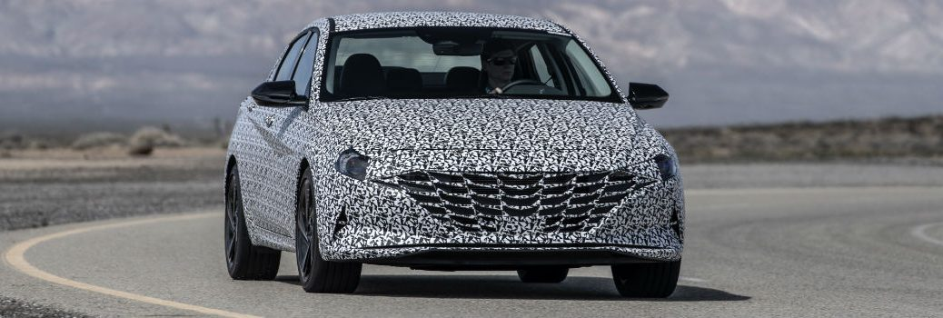 2021 Hyundai Elantra N Line in Camo Exterior Passenger Side Front Angle