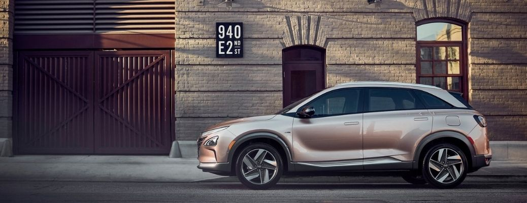 2021 Hyundai Nexo Fuel Cell parked in front of a house.