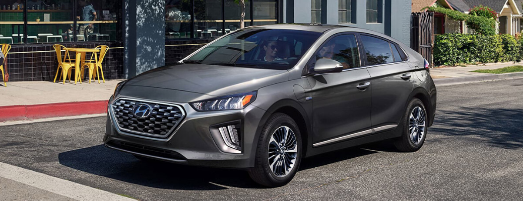 Grey 2020 Hyundai Ioniq Plugin Hybrid parked on city street