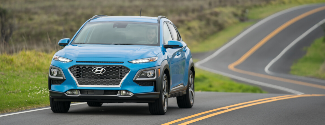 Front view of 2020 Hyundai Kona Surf Blue on the road