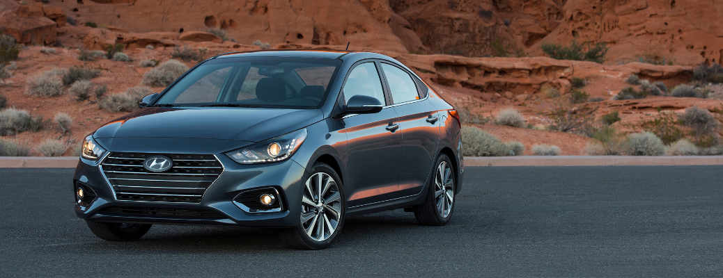 Front view of 2020 Hyundai Accent in Urban Gray