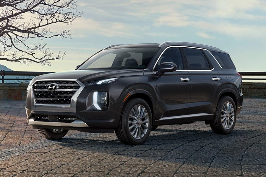 Becketts Black 2020 Hyundai Palisade on a Brick Road