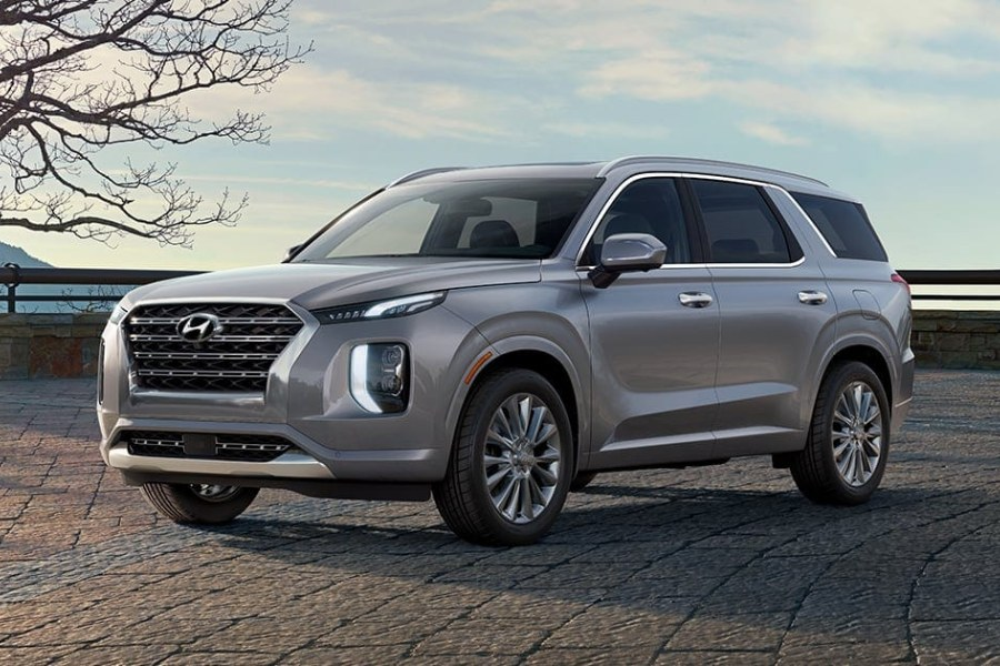 Lagoon Silver 2020 Hyundai Palisade on a Brick Road