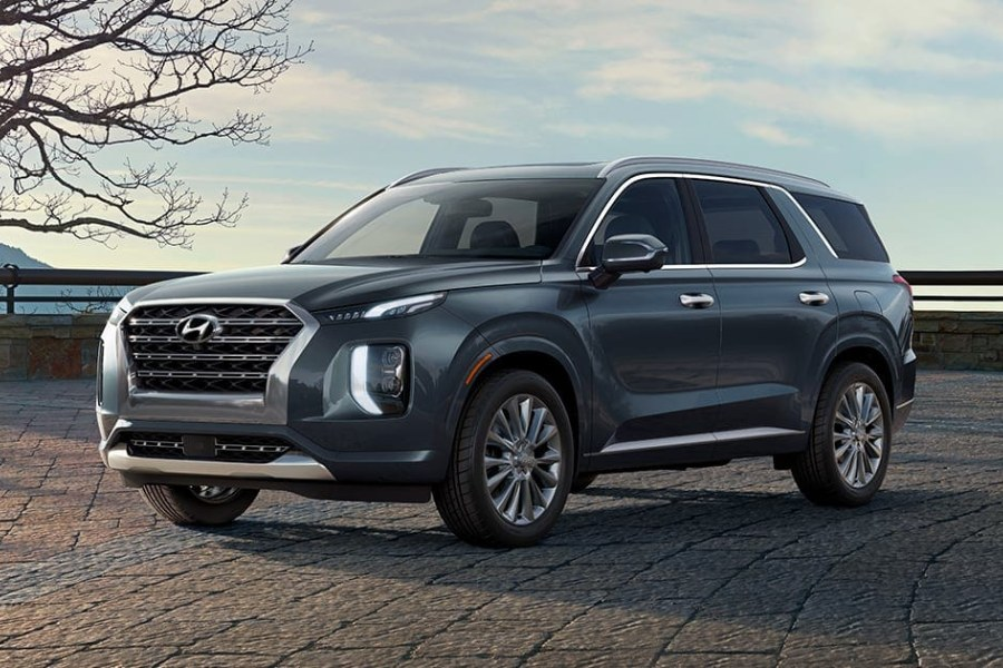 Moonlight Cloud 2020 Hyundai Palisade on a Brick Road